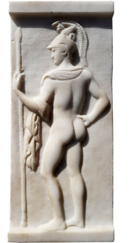 Guerriero Greco bassorilievo in marmo  - Greek warrior marble bassrelief 12476