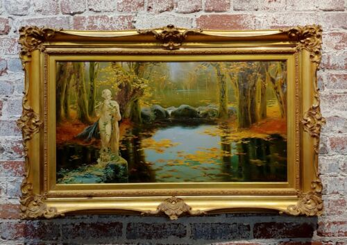 Enrique Serra -1890s Satyr playing the flute in the Pontine Pond -Oil Painting