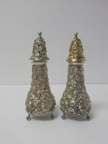 Pair Stieff ROSE Repousse Sterling Silver Salt & Pepper Shakers