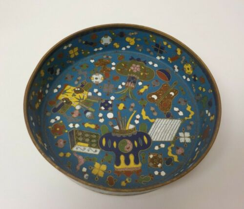 "19th C. Chinese Cloisonne on Bronze 7"" Colorful Tray / Dish"