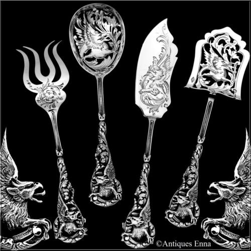 Masterpiece Boivin French Sterling Silver Hors d'Oeuvre Set 4 Pc, Box, Dragon