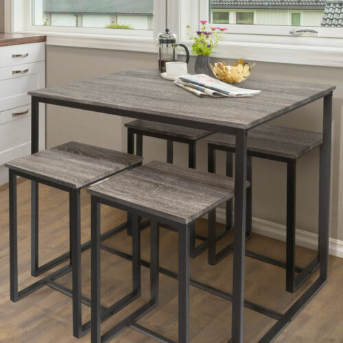 Zenvida 5 Piece Bistro / Pub Table Set With 4 Stools <br/> FREE FAST SHIPPING, NO HASSLE RETURNS