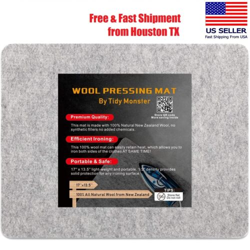 17'' X 13.5'' Wool Ironing Mat For Quilting, 100% Wool From New Zealand Portable