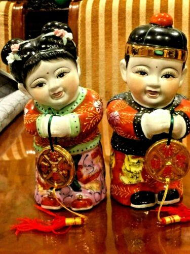 VINTAGE BEAUTIFUL JAPANESE CHILDREN BOY AND GIRL STATUES HAND PAINTED