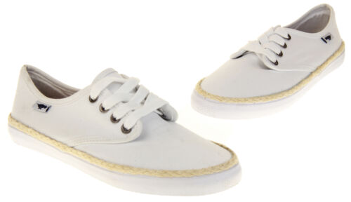 Ladies White Rocket Dog Flat Textile Pumps Trainers Style Laced Shoes Size 3 4