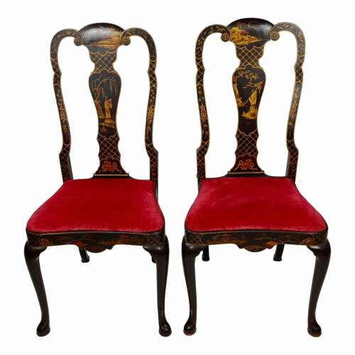 Martin Manrique Exquisite Chinoiserie Dining Chairs -A Pair