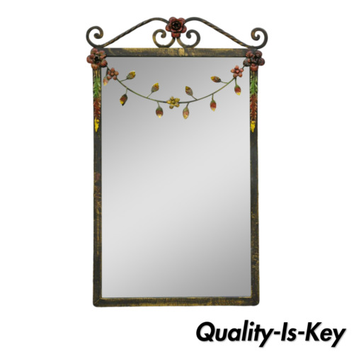 Antique Wrought Iron Floral Frame French Country Victorian Small Wall Mirror