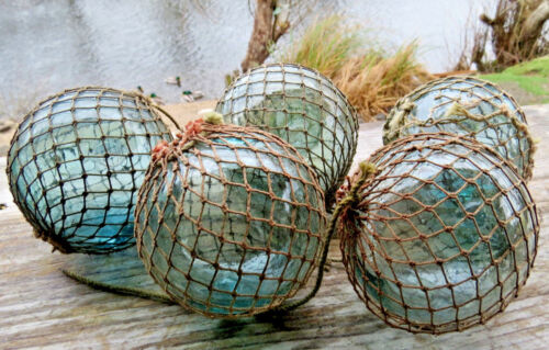 """JAPANESE GLASS  Fishing FLOATS Lot-5 3-3.5"""" Antique NET Mixed Shades AUTHENTIC!"""