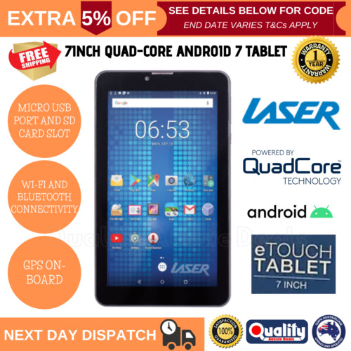 NEW Laser 7 inch Tablet Quad Core 8GB Android 7 Quad Core CPU Wi-Fi Bluetooth