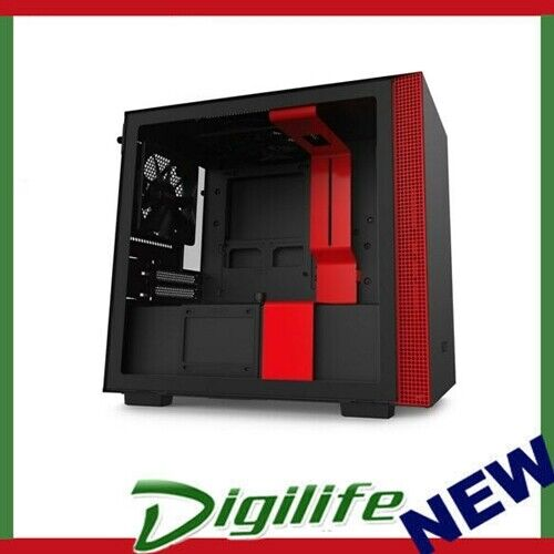 NZXT H210 Tempered Glass Mini-ITX Case - Matte Black/Red