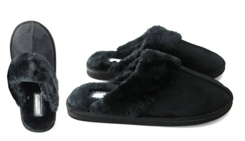 LADIES WOMENS WARM HARD SOLE FAUX FUR LINED INDOOR COMFY SLIPPERS SHOES SIZE
