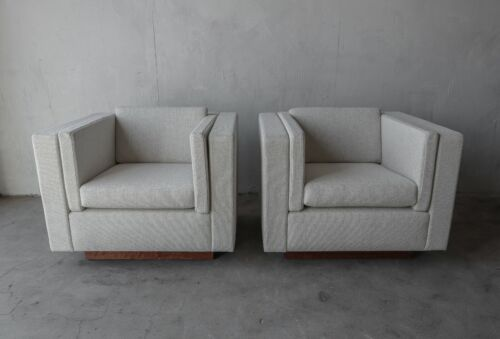 Pair of Mid Century Cube Plinth Base Lounge Chairs by Probber or Baughman