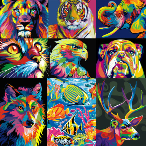 Colorful Animal DIY Paint By Numbers Kit Digital Oil Painting Artwork Home Decor