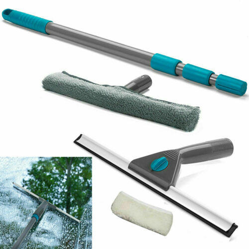 Telescopic Window Cleaning Kit EXTENDABLE HANDLE Washing Wiper Squeegee 1.3 Mt <br/> Makes Window Cleaning Easier Safer Faster Extra Wide