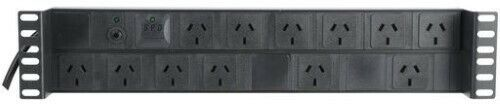 """12 Way Power Rail Horizontal Recessed PDU Metal Case with Surge Protection 19"""""""
