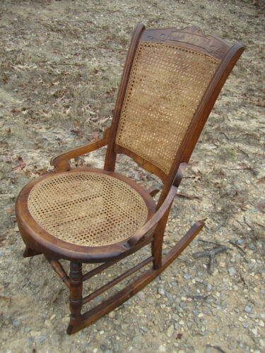 Antique American 19th Century Walnut Rocking Chair caned seat & back Wonderful