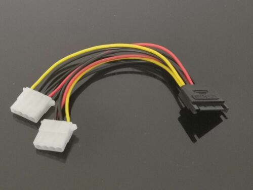 1x 15 Pin SATA Male to 4 Pin Molex 2 Female IDE HDD Power Hard Drive Cable