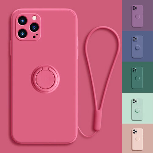 For iPhone 11/Pro/Max SE Xs XR Ring Stand Case Shockproof Liquid Silicone Cover