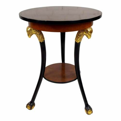 Baltic Neoclassic Empire Walnut & Gilt End Table