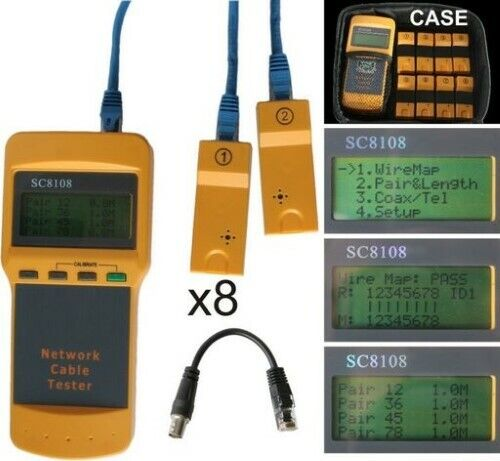 Network Cable Tester telephone Line Installation Tool 1.5V RJ45 Port LCD DIsplay