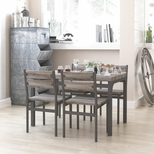 Zenvida 5 Piece Dining Set / Breakfast Nook, Table and 4 Chairs, Rustic Grey <br/> FREE FAST SHIPPING, NO HASSLE RETURNS
