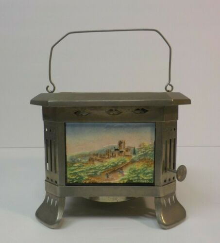 RARE German LITHOPHANE Food Warmer Candle Lamp, Colored Scenic Views