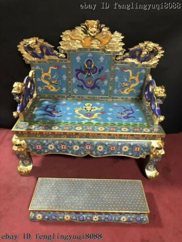 China Palace Bronze Cloisonne Enamel Dragons Chair Dragon Throne Emperor Stool