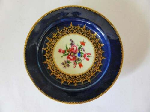 Dr Wall Worcester Plate, First Period Cobalt & Gold Wildflowers Plate, 1700's