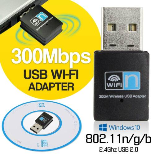 Mini 300 Mbps USB Wireless WiFi LAN Network Receiver Card Adapter For Desktop PC
