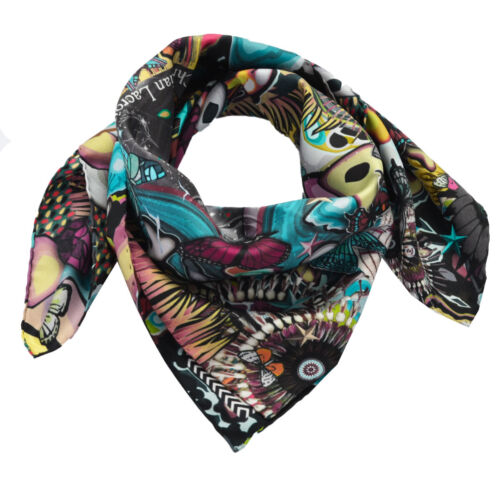 Foulard Christian Lacroix 100% seta Made in Italy 70x70 cm donna nero JM480