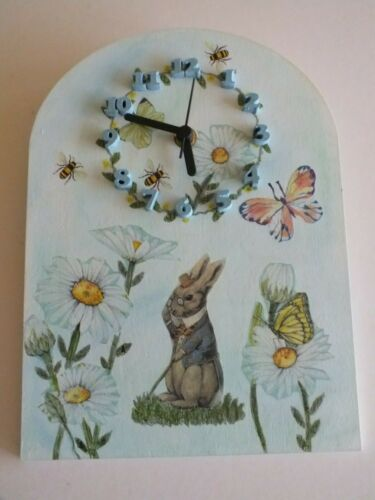 Peter Rabbit Wall Clock Large. Decoupage And Hand Painted, Wooden