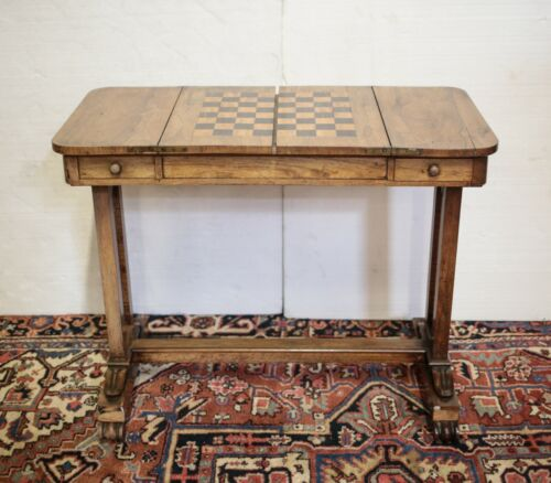 Continental rectangular game table marquetry chess / checker board early 20th c.