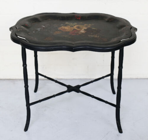 Antique Tea Tray bamboo style legs removable painted tray floral designs