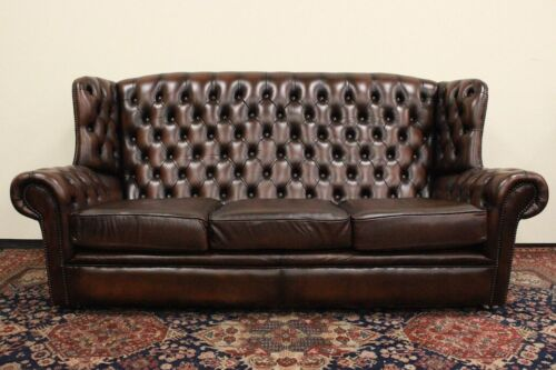 Divano 3 posti Chesterfield Chester monk / pelle marrone cioccolato /original UK