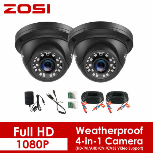 ZOSI 2x 1080P 4in1 CCTV Security Camera 3000TVL Home Outdoor IR Night Vision 2MP