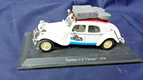 "Voiture miniature CITROËN TRACTION  11 B ""Chrome"" 1/43 sur socle ATLAS"