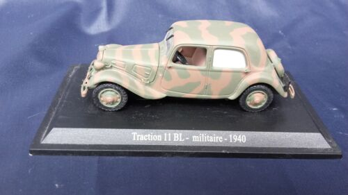 Voiture miniature CITROËN TRACTION  11 BL  MILITAIRE 1940  1/43 ATLAS
