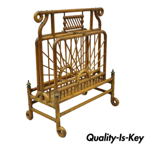 19th Century Victorian Antique Bentwood Stick and Ball Drop Side Magazine Rack