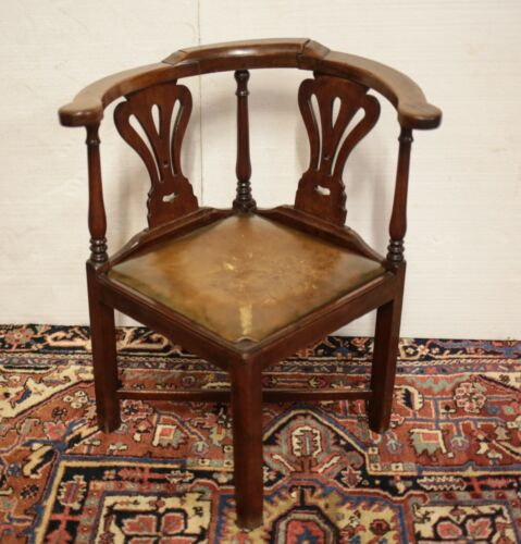 19th century Continental Chippendale style Corner Chair leather upholstered seat