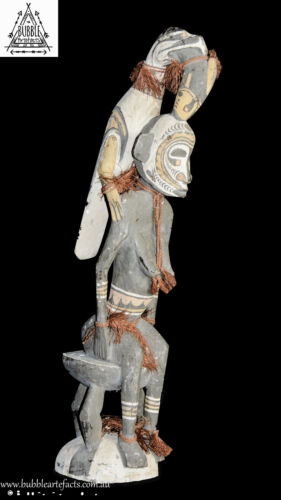 Old Ancestor Male Statue with Bird, Palambei, PNG, Papua New Guinea, Oceanic