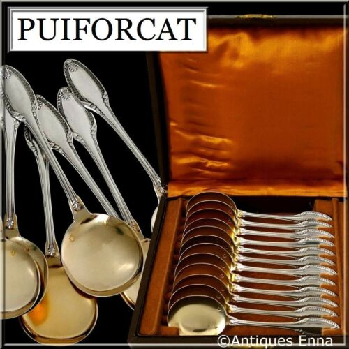Puiforcat French Sterling Silver 18k Gold Ice Cream Spoons set 12 pc Palmette