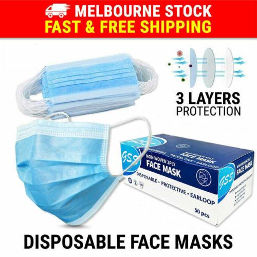 50PCS Face Mask 3 Layer Protective Mouth Masks Filter Respirator Daily <br/> ✔MEL Stock ✔AU Seller Since 07 ✔Same Day Dispatch