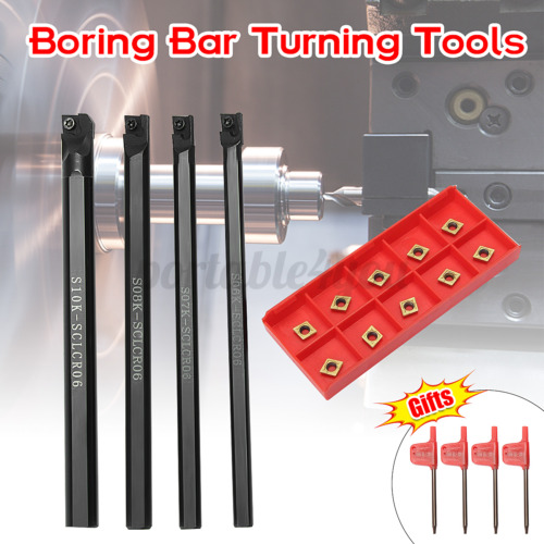 4x SCLCR06 Lathe Boring Bar Turning Tool Holder 6//7//8//10mm+Wrench 10x