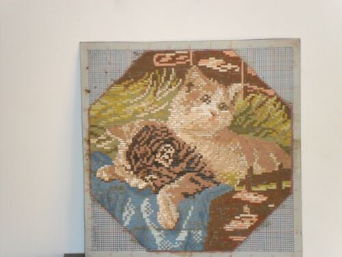 Gobelin Tapestry Intarsia Wooden Mosaic with  micro mosaic Little kittens Cats