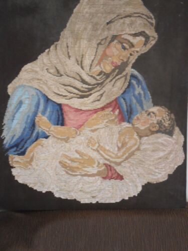 Gobelin Tapestry Intarsia Wooden Mosaic with  micro mosaic  Madonna and Child