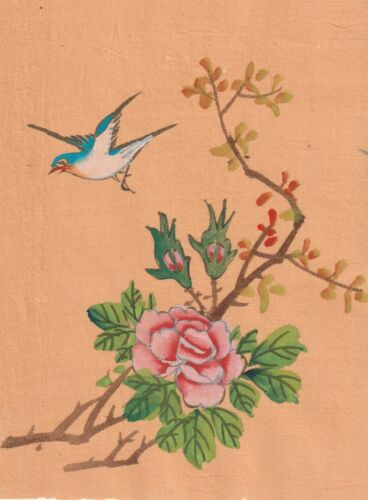 Hand Painted Ink & Gauche Japanese Miniture Painting w/Bird on Rice Paper c1930s