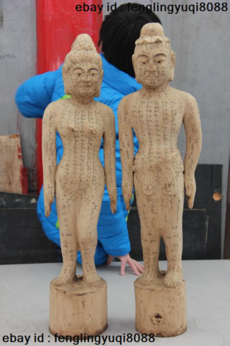 Chinese Wood Carve Traditional Medicine acupuncture human body point Statue Pair