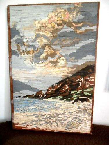 Gobelin Tapestry Intarsia Wooden Mosaic , micro mosaic  Storm over the reef