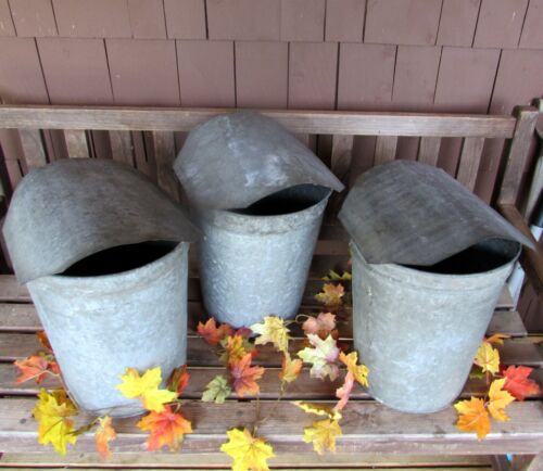 3 TALL Vintage VERMONT Maple Sap Buckets+COVERS~Rustic Farmhouse Fall & Holidays