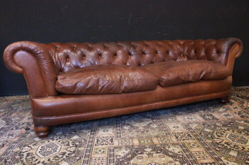 Divano Chesterfield Chester / 4 / quattro / posti / pelle marrone / originale UK